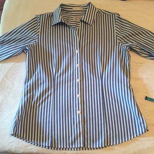 Women's blouse, Foxcroft, L, blue and white stripe